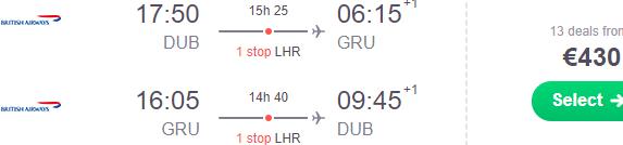 Return flights from Dublin to Brazil (Sao Paulo, Rio de Janeiro) from €440!