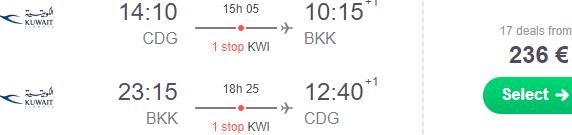 Cheap flights to Bangkok from Frankfurt, Rome, Paris or Geneva from €236 return!