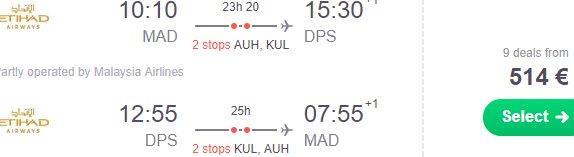 Etihad return flights from Madrid to Denpasar Bali, Indonesia from €514!