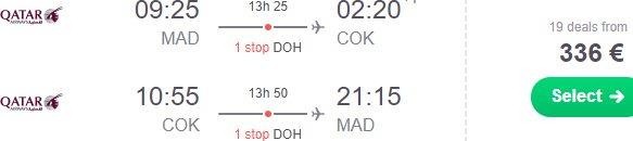 Cheap return flights from Madrid to Kochi , India from €336!