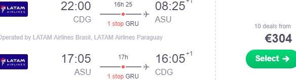 Cheap flights from Paris to Asuncion, Paraguay from €304!