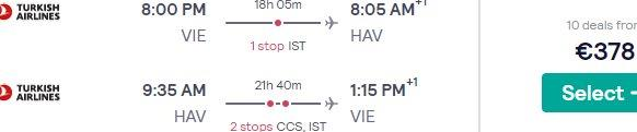 Return flights from Vienna to Havana, Cuba from €408!