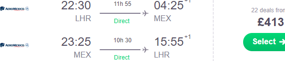 Cheap non-stop flights from London Heathrow to Mexico City from £413!