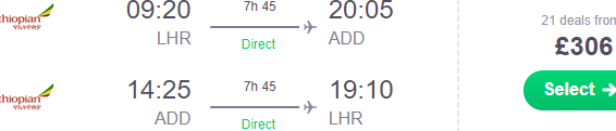 Cheap non-stop flights from London to Addis Ababa, Ethiopia £306!