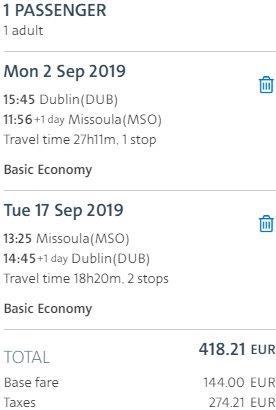 Return flights from Dublin to Missoula, Montana from €419!