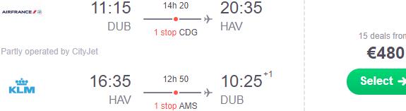 Air France-KLM return flights from Ireland to Havana, Cuba from €480!