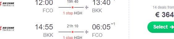 Cheap return flights from Rome to Bangkok, Thailand from €364!