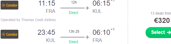 Cheap non-stop flights from Frankfurt to Kuala Lumpur from €320!