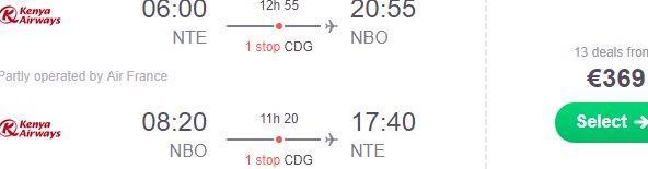 Return flights from France to Nairobi, Kenya from €369!