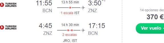 Return flights from Spain to tropical Zanzibar from €370!