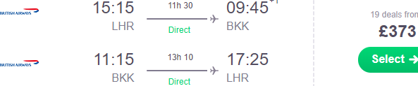 Cheap non-stop flights from London to Bangkok from £373 return!