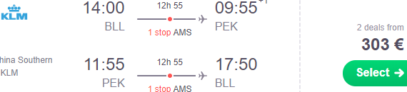 KLM cheap flights from Denmark to China (Beijing, Chengdu, Taipei, Hong Kong) from €303!