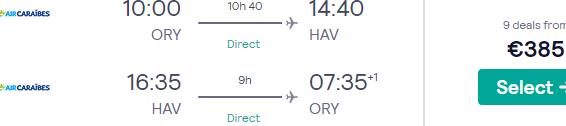 Cheap non-stop flights from Paris to Havana, Cuba from €385!