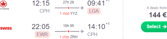 Cheap Copenhagen flights to the USA for €144 return!