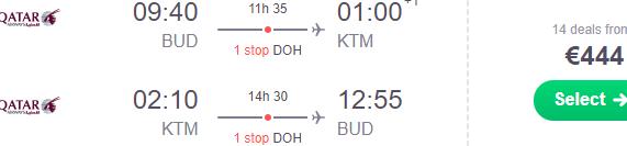 5* Qatar Airways flights from Budapest to Kathmandu, Nepal from €444!