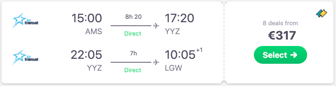 Multiple cheap European direct return flights to Toronto & Montreal from €317