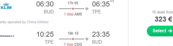 Cheap return flights from Budapest to Taipei, Taiwan from €323!