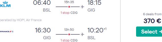 Cheap return flights from Switzerland to Brazil (Rio de Janeiro, Sao Paulo) from €370!