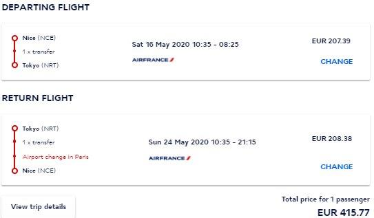 Air France return flights from Nice or Lyon to Tokyo, Japan from €416!