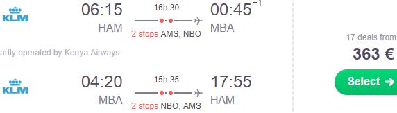 High season full service flights from Germany to Mombasa, Kenya from €363!