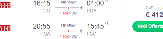 Return flights from Italy to Porto Alegre, Southern Brazil from €412!