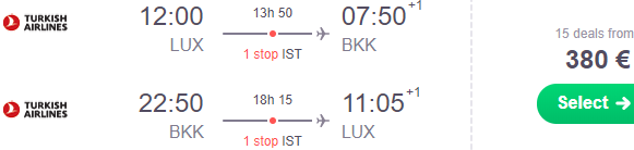 High season flights from Luxembourg to Bangkok, Thailand from €380!