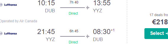 Cheap non-stop flights from Dublin to Toronto from €218!