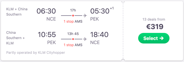 Full service flights from France to Beijing from only €319 return!
