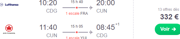 Star Alliance cheap return flights from France to Cancun, Mexico from €332!