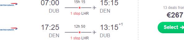British Airways flights from Dublin to Denver for €267!