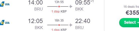 Cheap flights from Brussels to Bangkok, Thailand from €355!