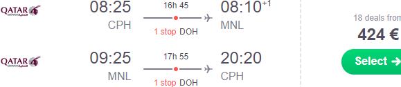 5* Qatar Airways flights from Copenhagen to Manila from €424!