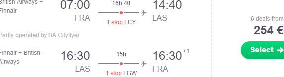 Cheap flights from Frankfurt to Las Vegas from €254 return!