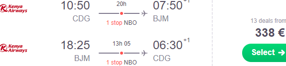 Cheap flights from Paris to Bujumbura, Burundi from €338 return!