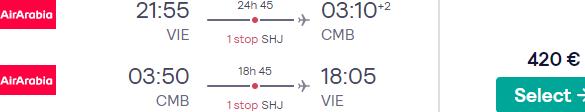 Cheap return flights from Vienna to Colombo, Sri Lanka from €420!