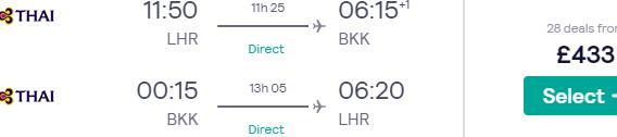 Thai Airways non-stop flights London to Bangkok from £433...