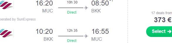 Cheap non-stop flights from Munich to Bangkok from €373!