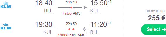 KLM cheap flights from Denmark to Kuala Lumpur, Malaysia from €255!