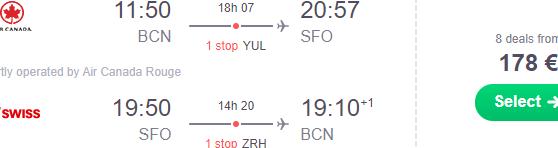 Cheap return flights from Spain to USA (Boston, Chicago, Las Vegas, Seattle, California, Phoenix, Denver) from €171!
