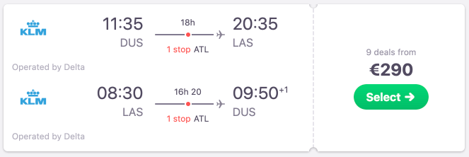 Flights from Germany to Las Vegas from €290! Multiple departure airports available