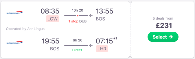British Airways flights from London to Boston from just £231 with non-stop inbound!