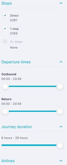 Cheap Flights with Skyscanner - The Ultimate Guide - Filters