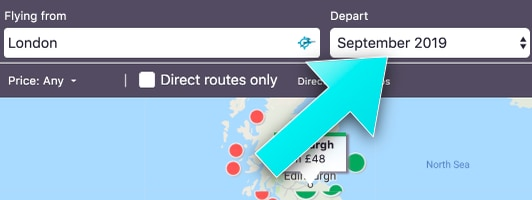 Cheap Flights with Skyscanner - The Ultimate Guide - Map View Month