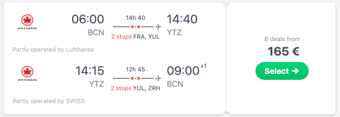 *FLASH SALE* Return flights to Toronto & Montreal from Spain from just €165! Non-stop from €214!