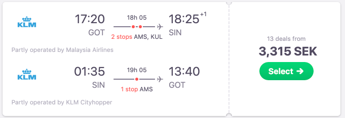 Christmas flights to Singapore from Sweden from just €310/SEK3315!