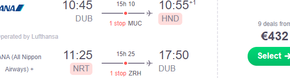 Cheap return flights from Dublin to Japan from €432!