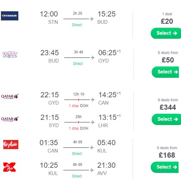 Multi-city deal UK / Germany / AMS to Hungary, Azerbaijan, China, Malaysia & AUstralia from £582 or €648!