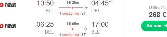 Cheap flights from Billund, Denmark to New Delhi, India from €268!