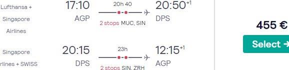 Cheap return flights from main airports in Spain to Bali from €455!