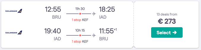 Cheap flights to Washington D.C. from Brussels for €273, with a Reykjavik stopover possible!